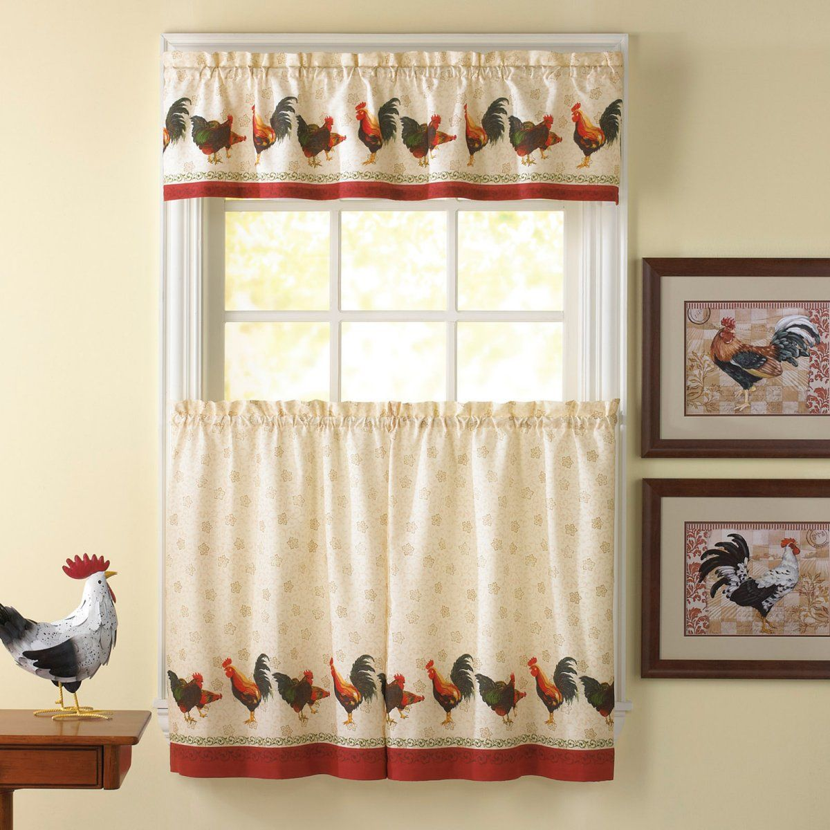 Delightful Awesome Kitchen Curtains Sets #1 Country Rooster Kitchen Curtain Valance