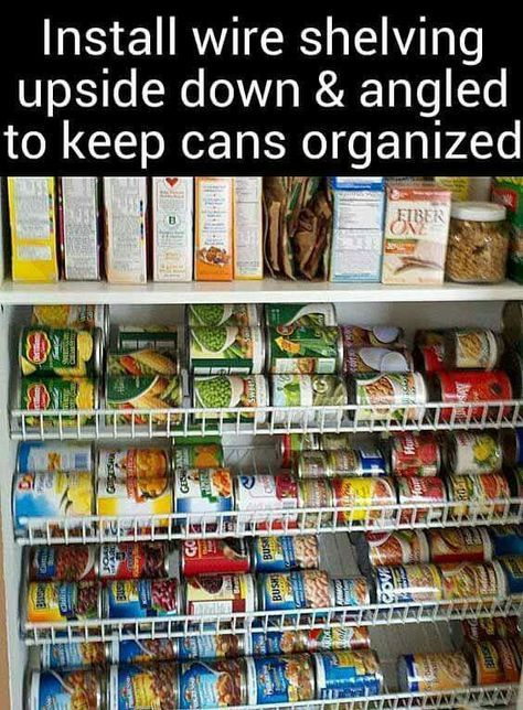 Install shelving upside down for cans #organization #pantry #kitchenpantrystorage