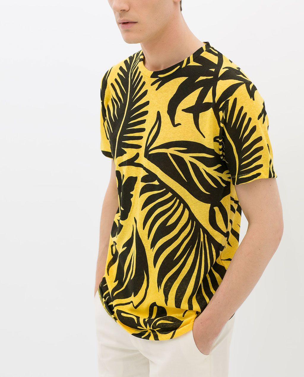ofertas exclusivas como encontrar elegir oficial ZARA - MAN - PRINTED LINEN T-SHIRT   polos   Camisa amarilla ...
