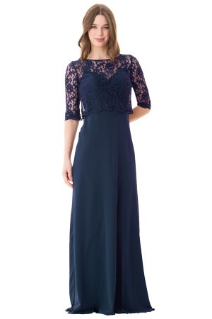 Spaghetti strap slip dress with center back zipper and lace jacket with 1/2 length sleeves | Style 1675 in Navy #bridesmaids #wedding