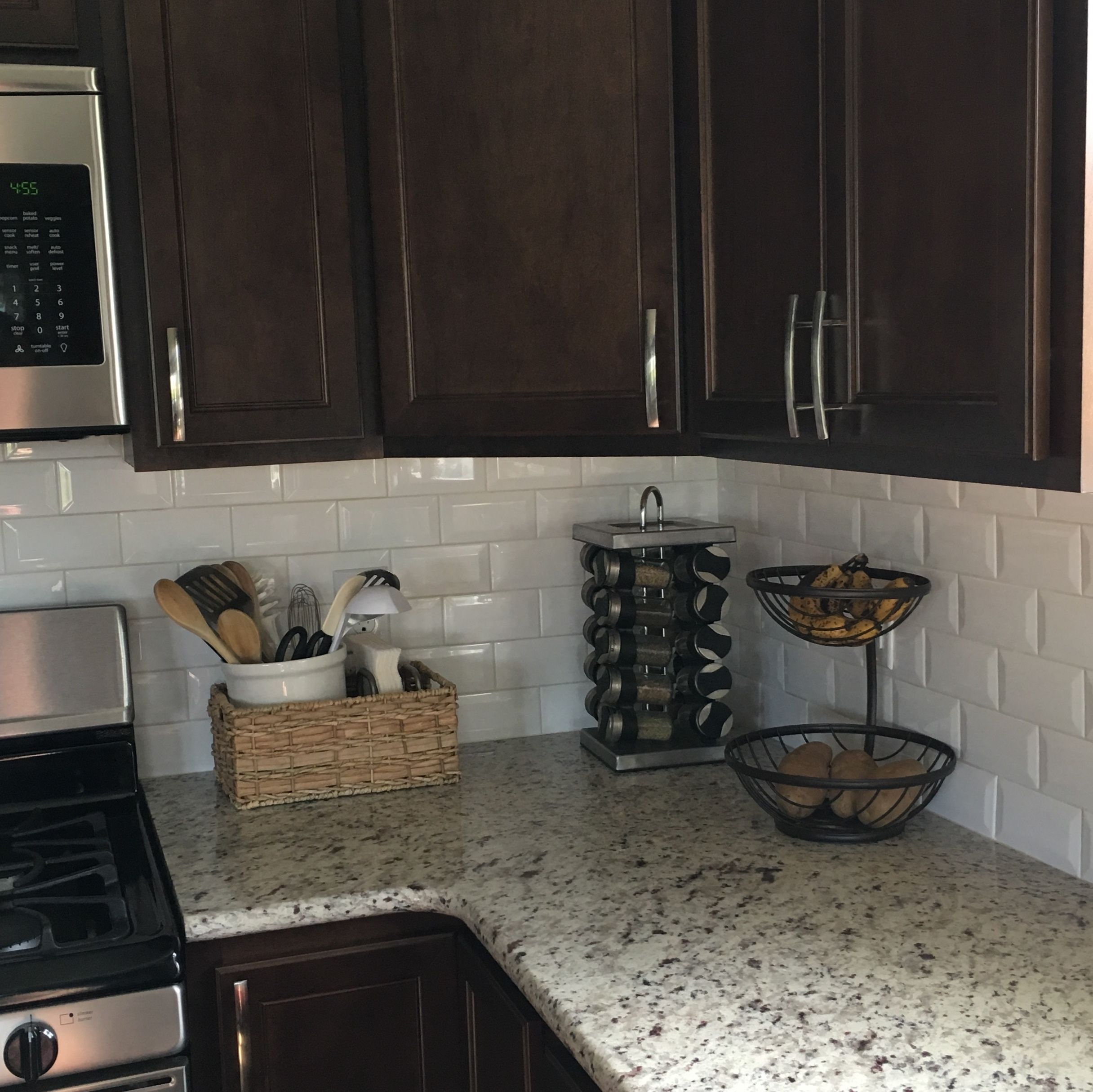 Dark Cabinets White Subway Tile And Neutral Granite Espresso