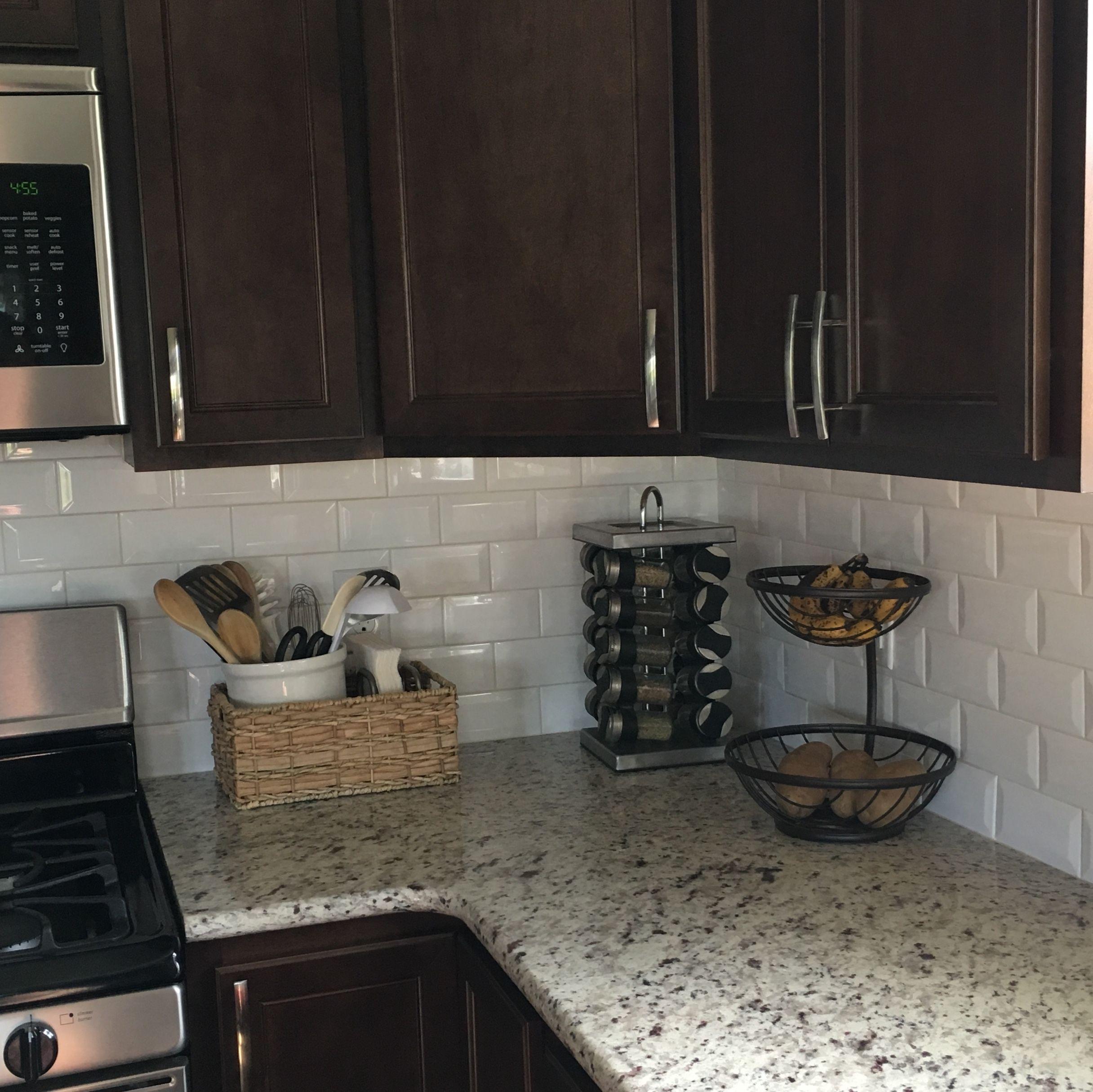 Dark Cabinets White Subway Tile And Neutral Granite Espresso