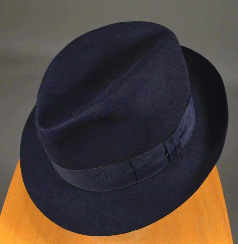 384a4c38314 20MHA-111 Price   165.00 MIDNIGHT BLUE EARLY 20th CENTURY 1920 S FELT FEDORA  - SCOTT S