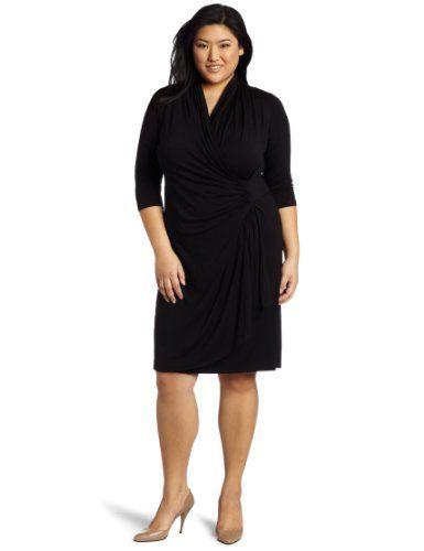 Karen Kane Womens Plus Size Cascade Wrap Dress Dress Adds