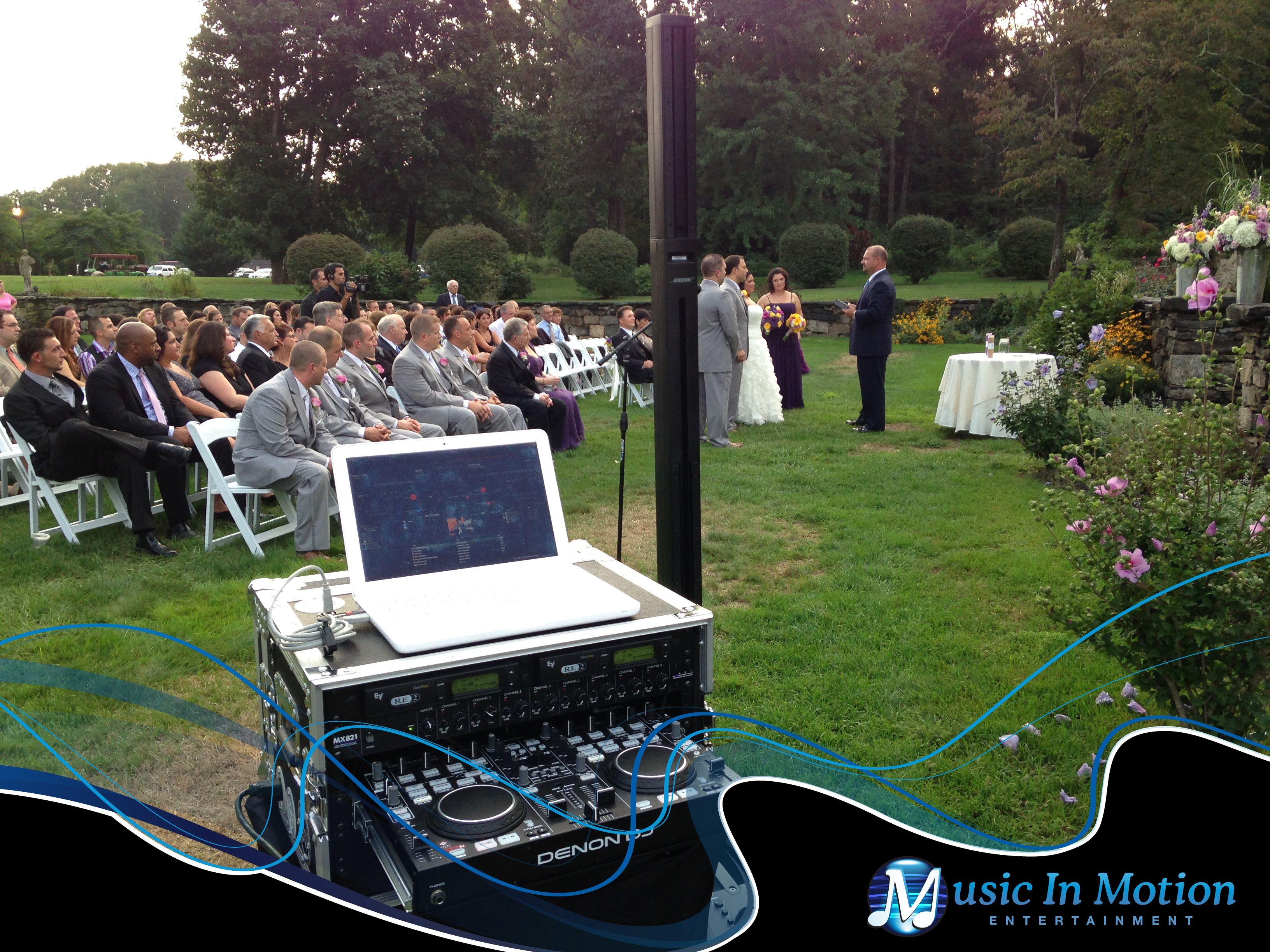 Music In Motion S Compact Dj System Set Up For A Ceremony In The Sunken Garden At St Clement S Castle Portland Ct Dj System Wedding Dj Sunken Garden