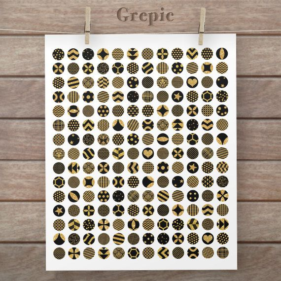 Digital downloads: 12mm circles BLACK GOLD GLITTER collage sheet glitter gold patterns for pendants, bottle caps, paper craft, collage sheet #etsy #scrapbooking