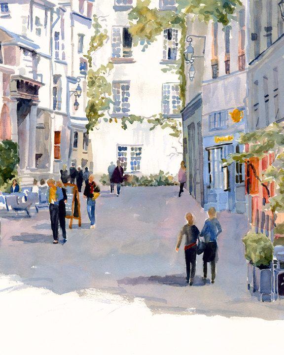 Paris Print Of Original Watercolor Painting Rue De Barres French