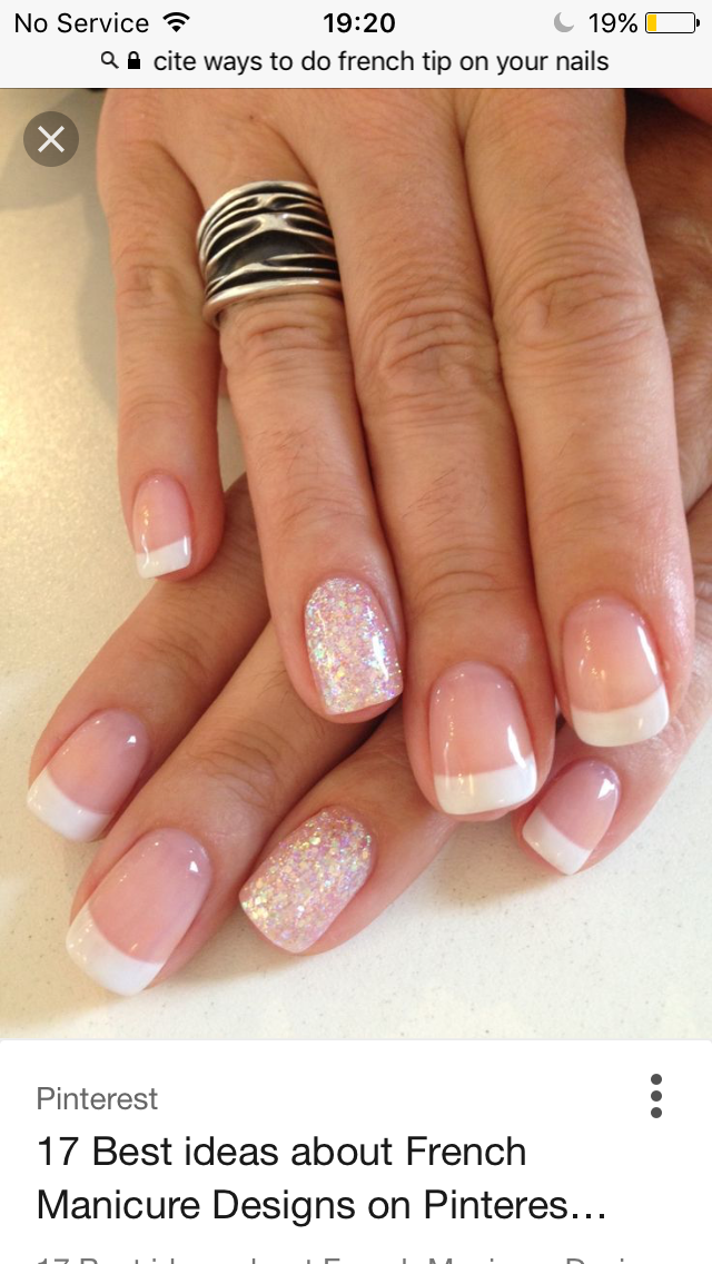 Cute French style nails with ring finger sparkle. | Hair, Skin ...
