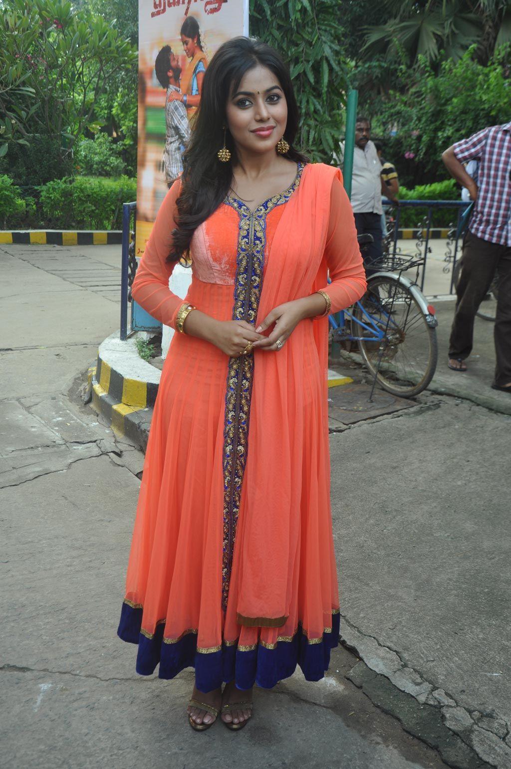 Shamna kasim in orange net anarkali dress shamna kasim pinterest