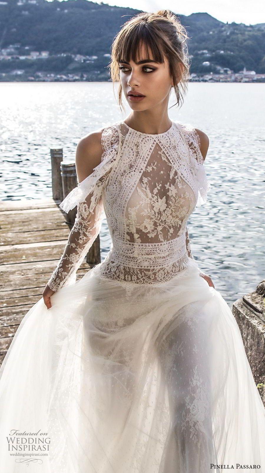 Pinella passaro bridal cold shoulder long sleeves halter neck