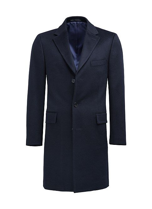 Blue Trento Overcoat in pure wool by Italian mill, Tollengno