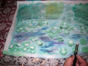 Monet inspired Water Lily Pond - good way to practice the art of shadows