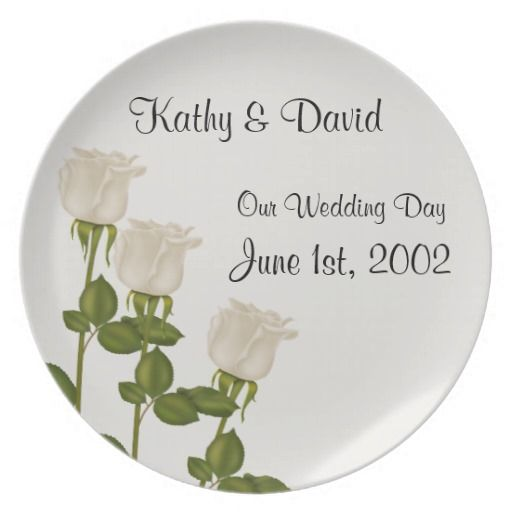 White Roses Wedding Plates http://www.zazzle.com/white_roses_wedding_plates-115544488001913893?rf=238631258595245556