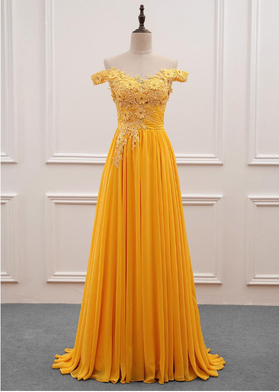 Yellow Off Shoulder Pretty Chiffon Party Dresses 67686ba41