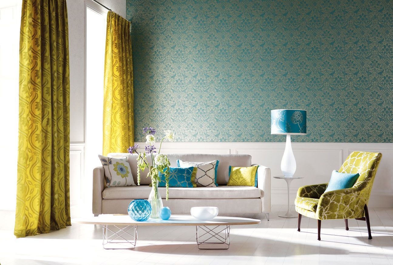 Home Decoration Pretty Interior With Yellow Curtain Floral Patterns And Blue Wallpaper In Elegant Living Room House Design Looks A