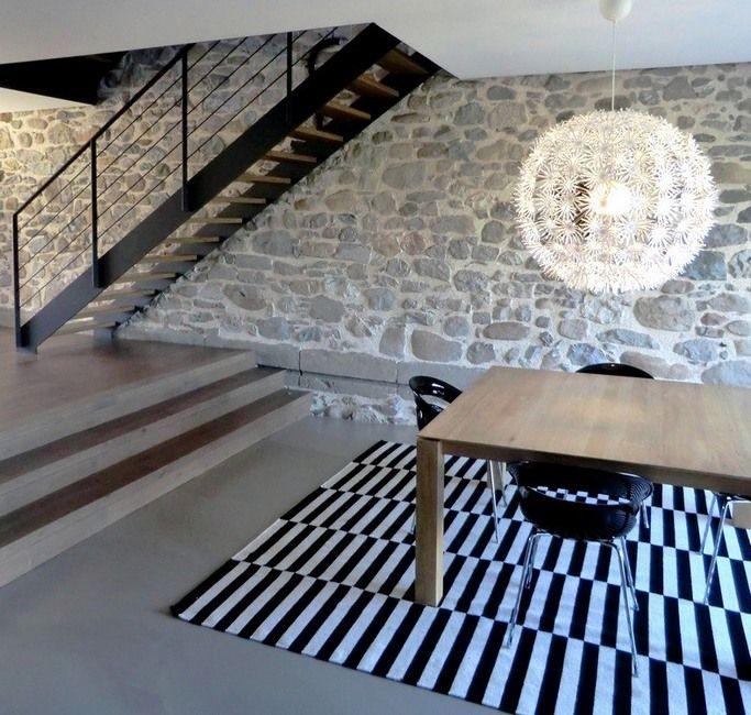 Escalier double limon et marches en bois Idée #décoration  Ce
