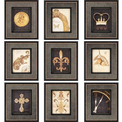 Paragon gilded story by fisk 9 piece graphic art shadow boxes set wall