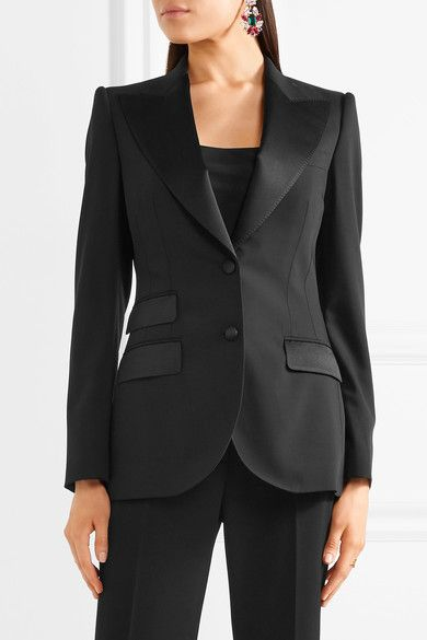 Dolce & Gabbana - Satin-trimmed Stretch Wool And Silk-blend Blazer - Black