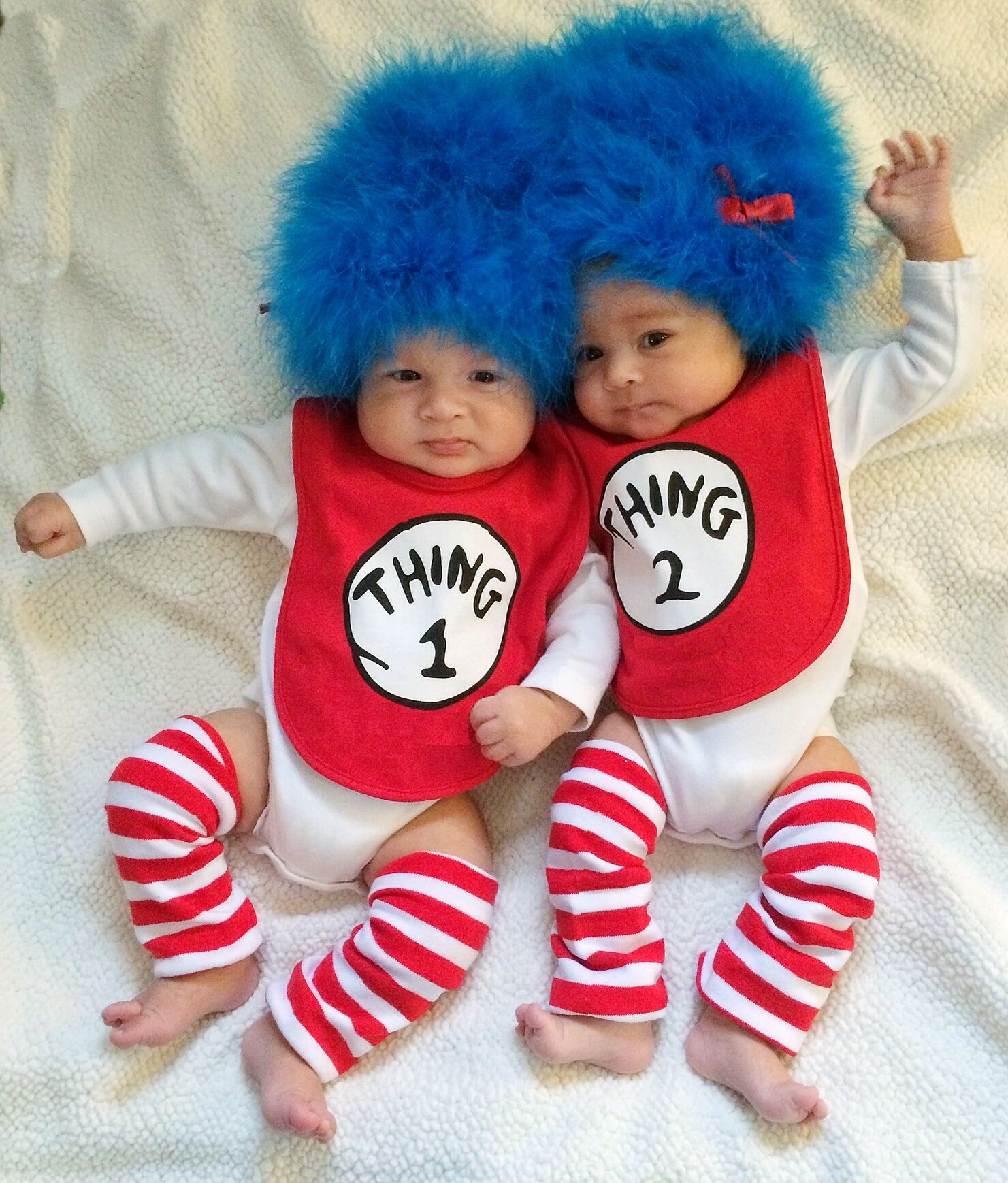 Thing 1 Thing 2 from Dr Seuss. Cat in the Hat. Twins, boy girl. 8 weeks old. Costume, DYI. First Halloween. #twins #thing1thing2 #thing1 #thing2
