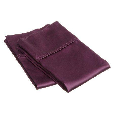 Superior 300 Thread Count Premium Long-Staple Combed Cotton Solid Pillowcase Set, Purple
