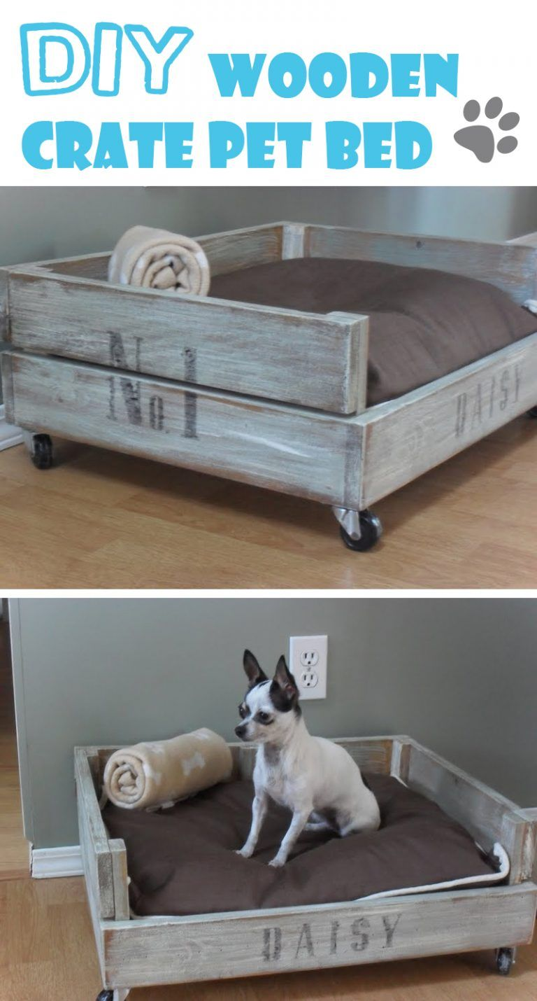 Durable DIY Pet Bed Wood crates, Diy wood projects, Diy