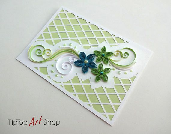 Quilling Wedding Card In Teal Green Pale Yellow And White