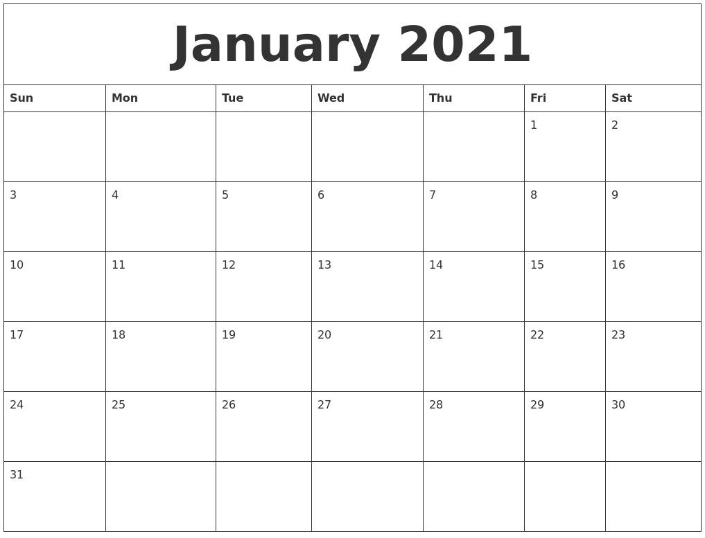 2021 Calendar Monthly Blank Printable Calendar 2021 Monthly Downloadable – Delightful