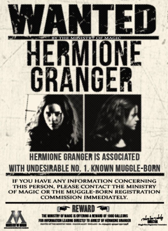 Wanted by the Ministry Hermione Granger by xlovegoodxdeviantart - old fashioned wanted poster