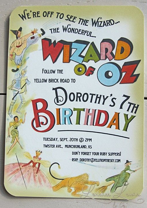 Super Cute Wizard of Oz Kids Birthday Invitation Cute Nail Ideas