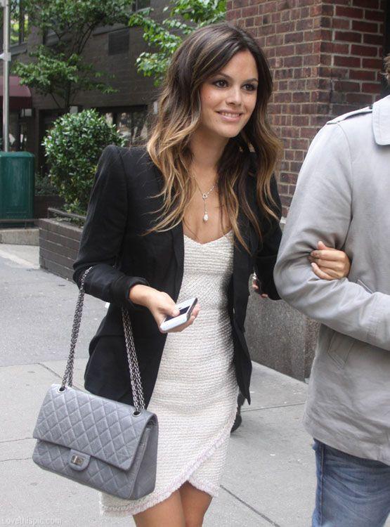 Rachel Bilson in black blazer, white dress
