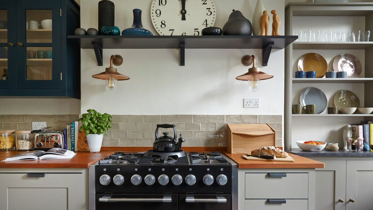 Modern Country Kitchen With Black Range Cooker And Grey Dresser The Room Edi Decorating Above Kitchen Cabinets Modern Country Kitchens Above Kitchen Cabinets