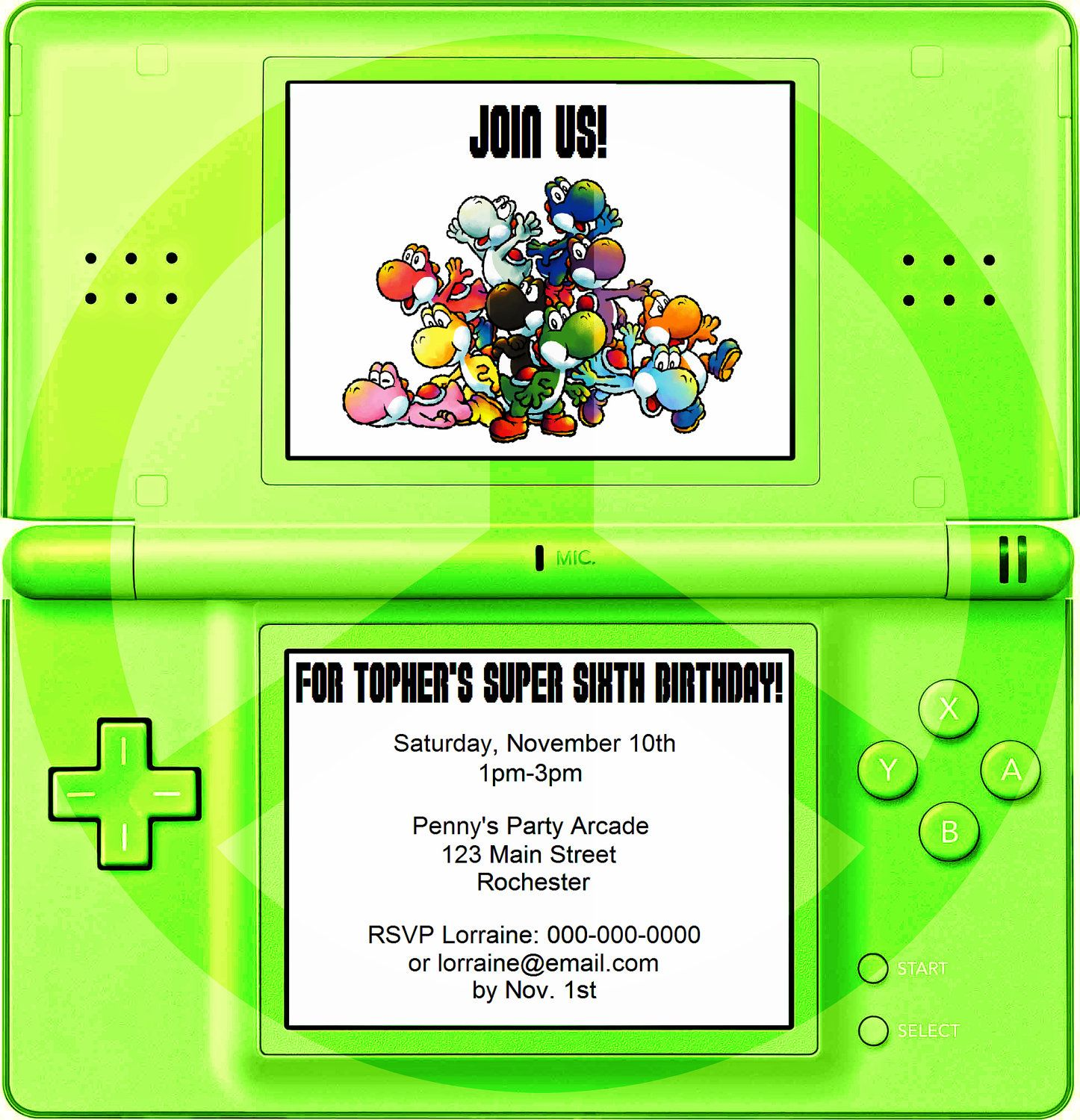 Yoshi Nintendo DS Party Invitation JPEG Printable Party Planning - Video game birthday party invitation template free