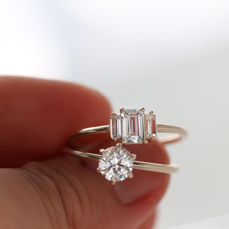 Geo white sapphire ring vintage engagement rings