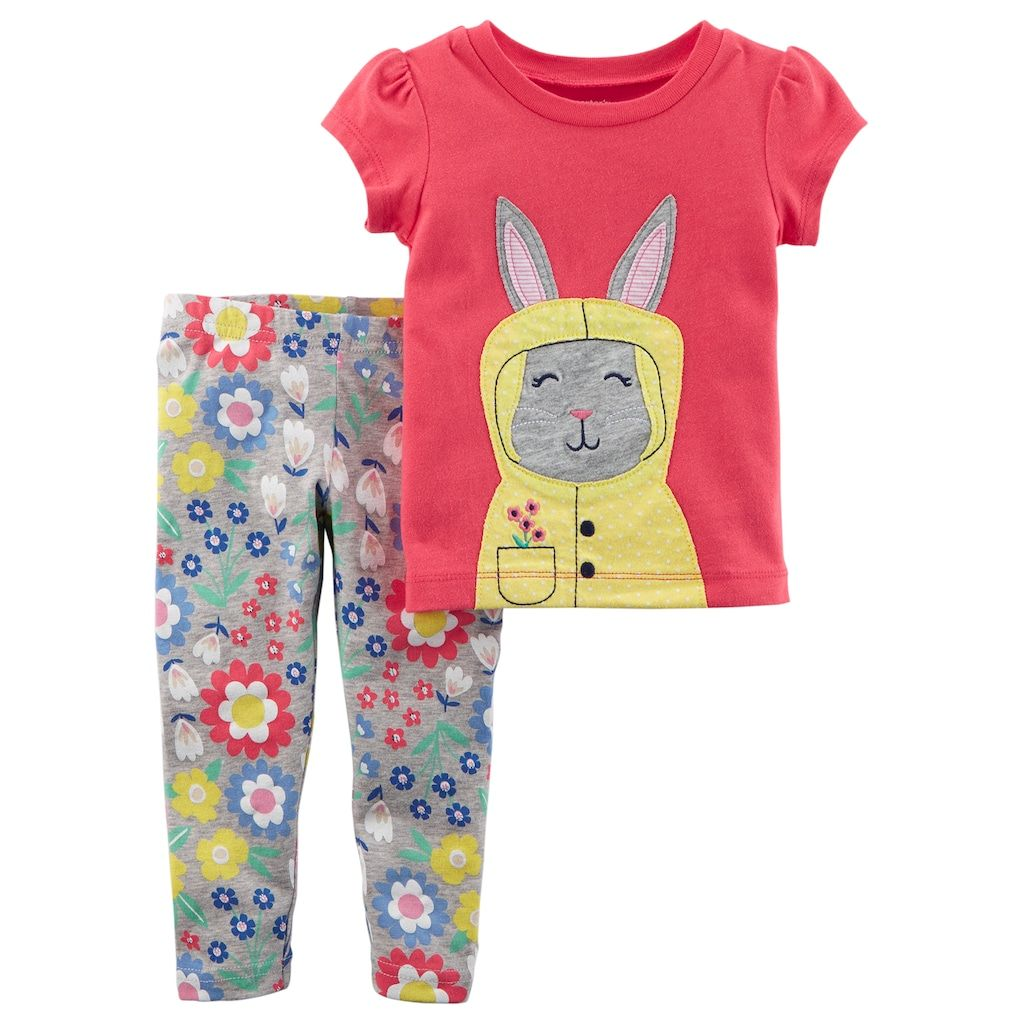 c9c1067becafe Baby Girl Carter's Bunny Tee & Floral Leggings Set | Products ...