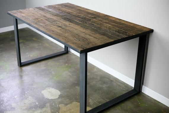 Custom Made Modern/Industrial Dining Table/Desk. Reclaimed Wood Top Steel  Base Vintage