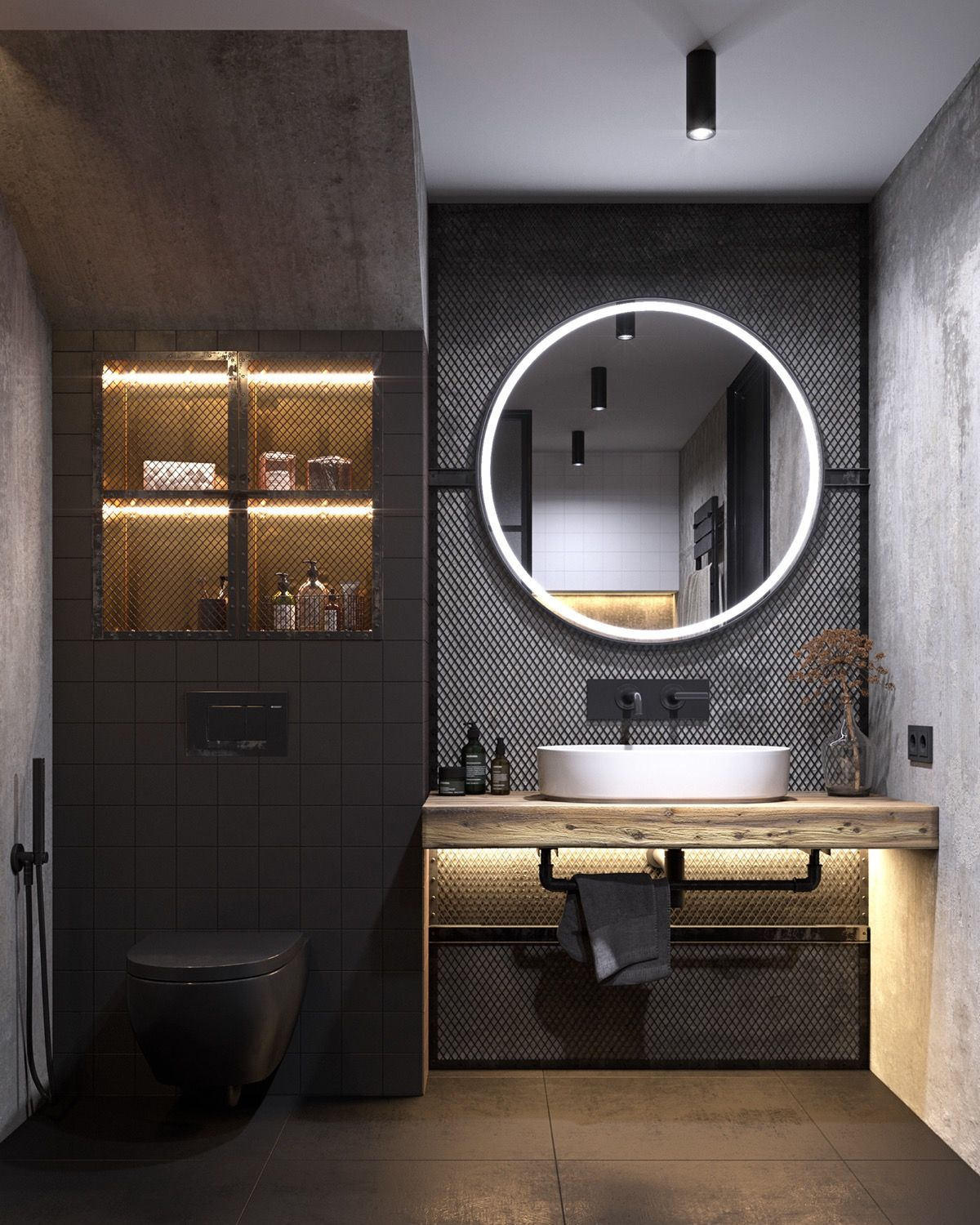 4 Apartments That Turn Up The Dial On Industrial Style Industrial Bathroom Design Industrial Bathroom Bathroom Styling