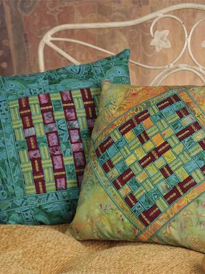 Woven Fabric Ribbon Pillows Free Pattern | weaving_ _ _ fabric ...