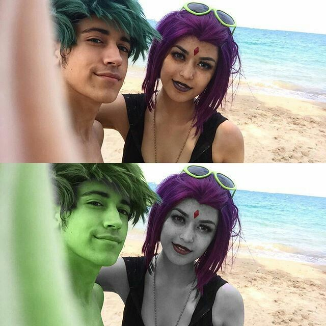 نتیجه تصویری برای ‪Raven and beastboy cosplay pinterest‬‏