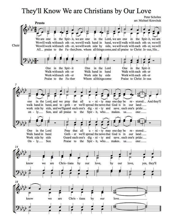 Free Choir Sheet Music Theyll Know We Are Christians By Our Love