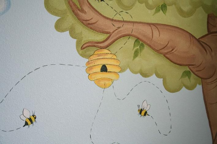 Bumble Bee Themed Baby Nursery Murals And