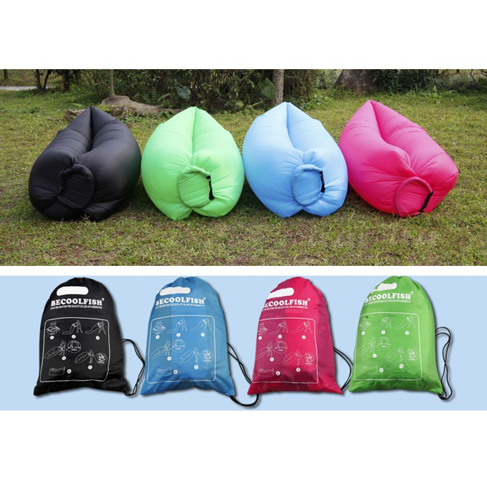 lazy lamzac hangout inflatable air sleeping bag sofa couch bed for outdoor camping blue. Black Bedroom Furniture Sets. Home Design Ideas