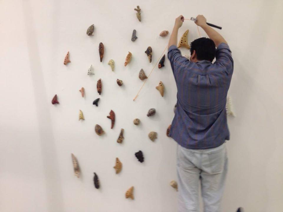 Geoffrey Tjakra Jccb3 installing the musical artifacts | Geoffrey