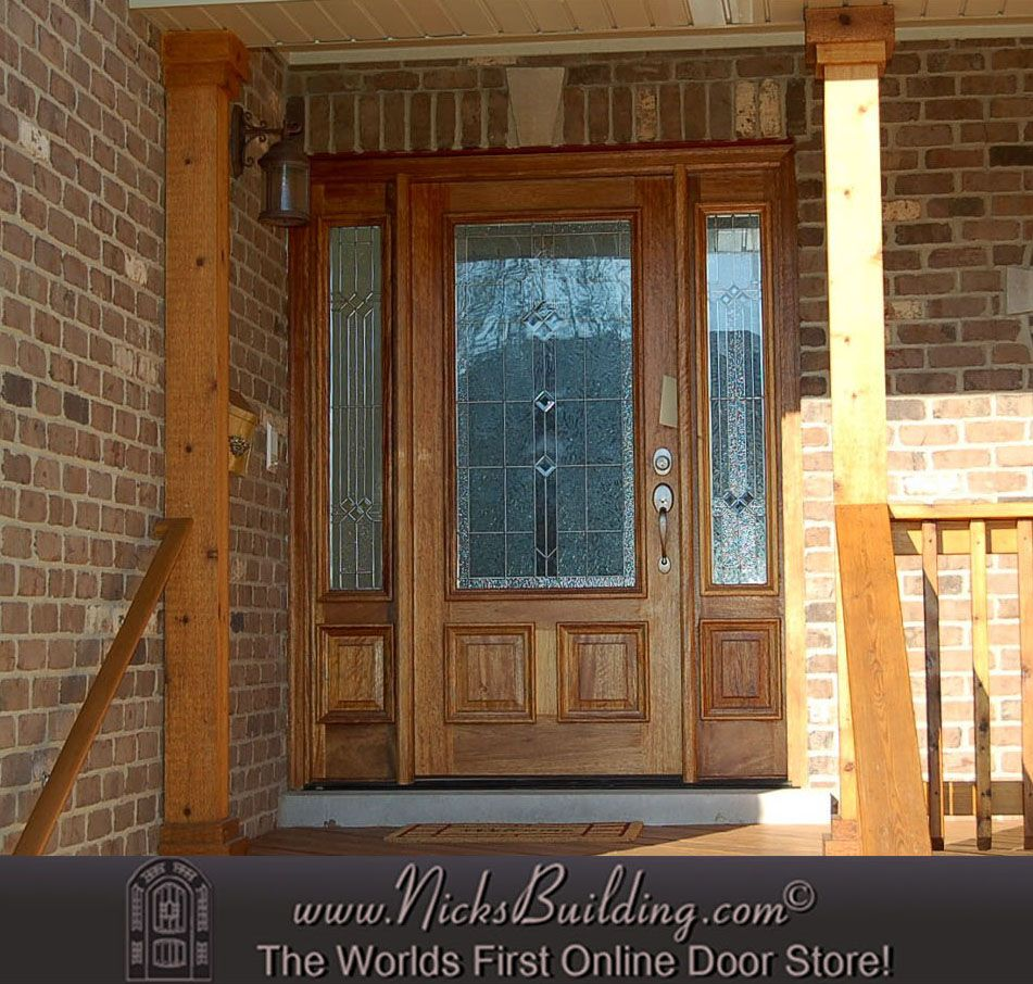 Doors Design: Front Porch With A Golden Oak Stain On A Mahogany Door