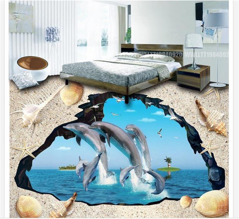 Custom 3 d PVC wallpaper photo wallpaper Flying dolphin painted on ...