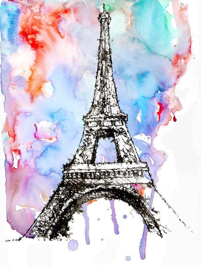 Paris Print Eiffel Tower Watercolor Painting Paris Illustration