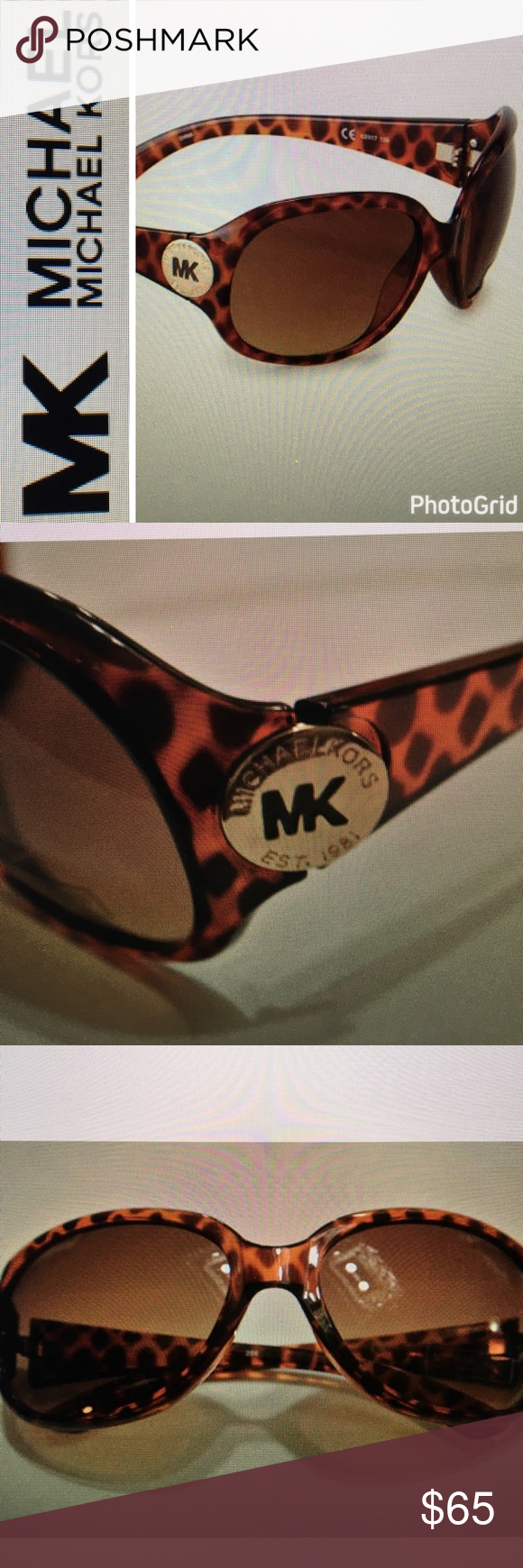 NWT Michael Kors MK Circle Logo Sunglasses  Round frame sunglasses add an exotic accent to your sunny day look with these animal patterned sunglasses from Michael Kors Michael Kors Accessories Glasses