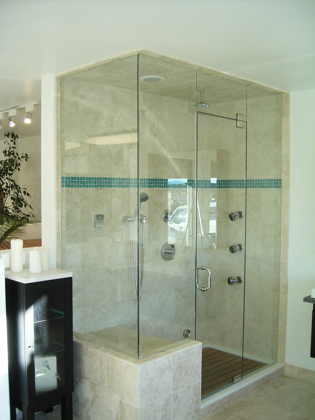 Double Shower With Seat And Timber Floor  For The Home Unique Designer Showers Bathrooms Decorating Inspiration