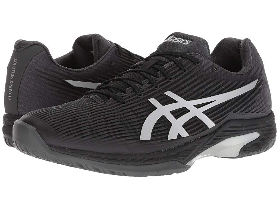 ASICS Solution Speed FF BlackSilver Mens Tennis Shoes Find your stride with ASICS and the Solution Speed FF tennis shoes Flexion Fit upper has been redesigned to provide...
