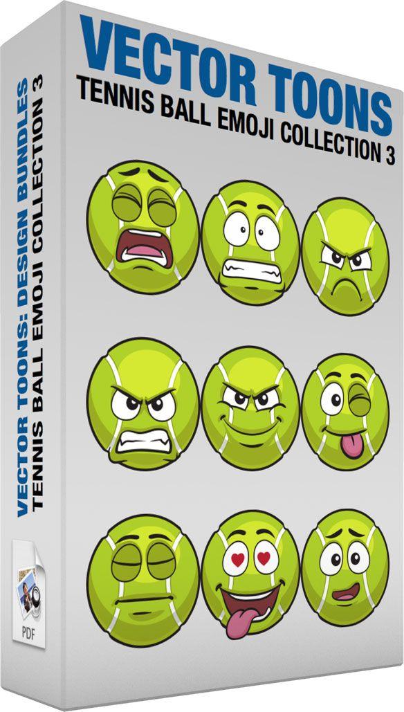Tennis Ball Emoji Collection 3 Vector Illustrations Pinterest