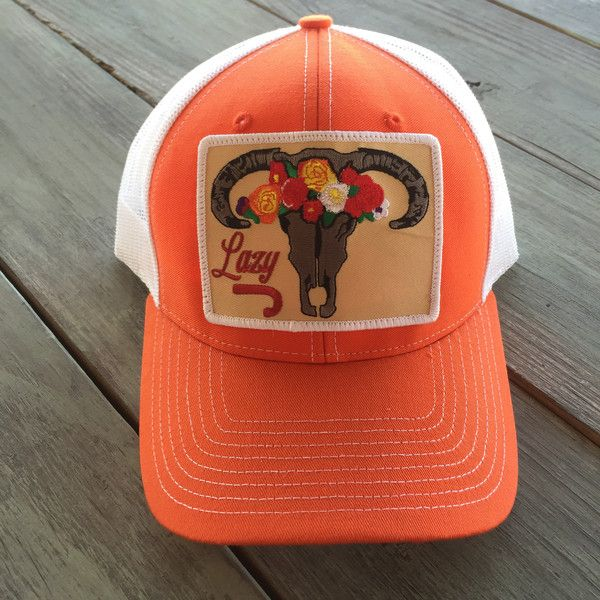 90057a4957a5c Skull and Flower Orange and White Hat